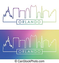 Orlando skyline. Colorful linear style.