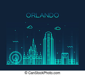 Orlando skyline Florida USA vector linear style - Orlando...