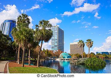 Orlando skyline fom lake Eola Florida US - Orlando skyline...
