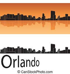 Orlando skyline in orange background in editable vector file