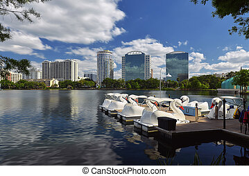 Orlando Skyline Lake Eola - Downtown Orlando, Florida,...