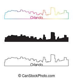 Orlando skyline linear style with rainbow in editable vector...