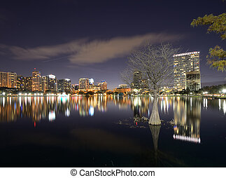 Orlando Skyline - Skyline of Orlando, Florida from lake...