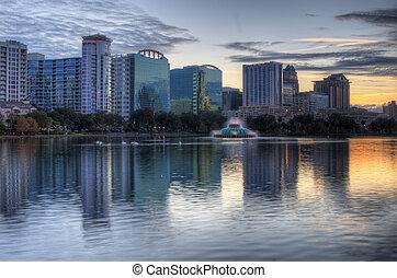Orlando Skyline - Skyline of Orlando, Florida from lake Eola...