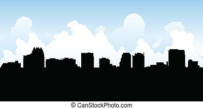 Orlando Skyline - Skyline silhouette of the city of Orlando,...