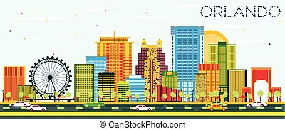 Orlando Skyline with Color Buildings and Blue Sky. Vector...