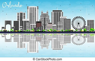 Orlando Skyline with Gray Buildings, Blue Sky and...