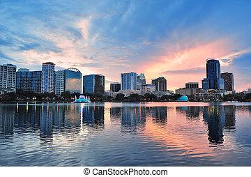 Orlando sunset over Lake Eola - Orlando Lake Eola sunset...