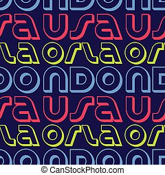 Orlando, USA seamless pattern, typographic city background...