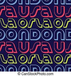 Orlando, USA seamless pattern, typographic city background...