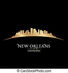 orleans, 黒い背景, スカイライン, 都市, ルイジアナ, 新しい, シルエット