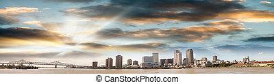 orleans, dämmerung, panoramisch, skyline, neu , ansicht