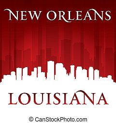 orleans, fundo, skyline, cidade, louisiana, vermelho, novo, silueta