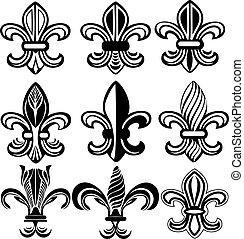 orleans, símbolo, lis, fleur, novo, de