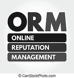 ORM - Online Reputation Management acronym, business concept...