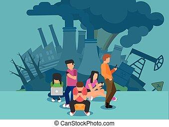 orma, carbonio, concetto, internet