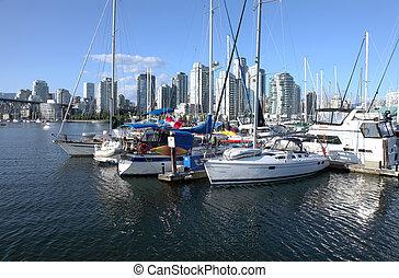 ormeggiato, insenatura, sailboats., bc., vancouver, falso