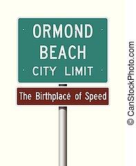 Ormond Beach City Limit road sign