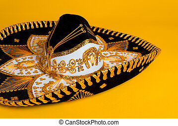 orné, or, noir blanc, mexicain, sombrero