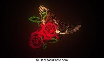 orné, rose, fleurs, hibou
