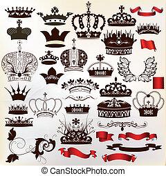 orné, vecteur, couronnes, collection