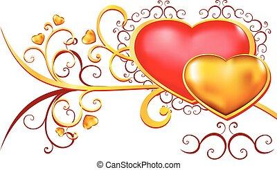 orn, floral, vermelho, ouro, corações