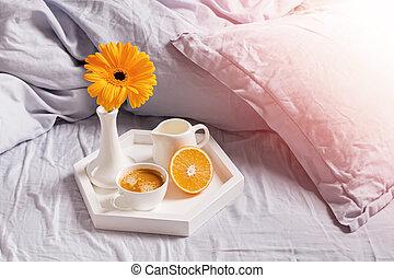 ornage, plateau, plate-bande, debout, café