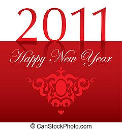 ornam, testo, anno, nuovo, 2011, felice