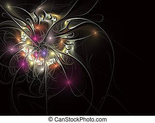 ornament., イラスト, 明るい, 背景, 花, フラクタル