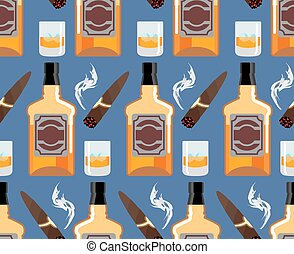 ornament., バー, びん, ウイスキー, pattern., 葉巻き, 紳士, seamless, 氷, バックグラウンド。, 煙, スコットランド, texture., 背景