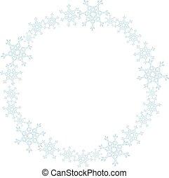 ornament., 雪花, 花冠, 隔离, 装饰, 矢量, 冬季
