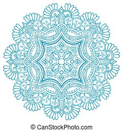 Ornament beautiful card with mandala. Flake of snow made in...