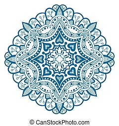 Ornament beautiful card with mandala. Flake of snow made in ...