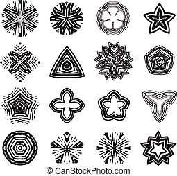Ornament black and white line art design set