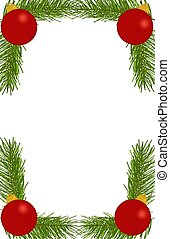 Ornament Branch Border - Bright Red Ornaments on top of...