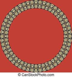 ornament., cadre, palmetta, rond, grec