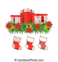 ornament christmas flowers with box gifts and boots christmas