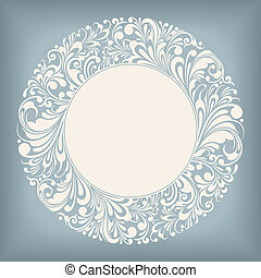 Ornament Circle Label - Circle Frame Floral Ornament Series,...