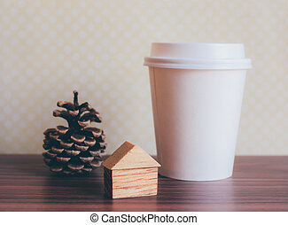 Ornament craft and coffee paper cup with retro filter effect