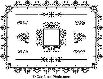 ornament, dividers, communie, grens, ontwerp
