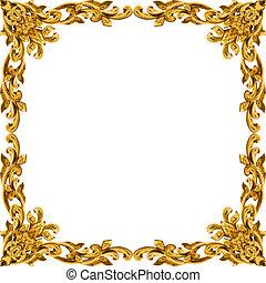 Ornament elements frame, vintage gold floral designs
