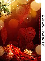 ornament;, fetes, fond, carte, noël