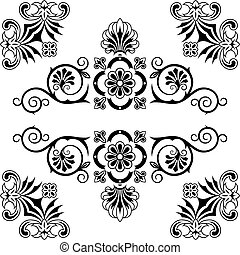Ornament floral design elements with swirls