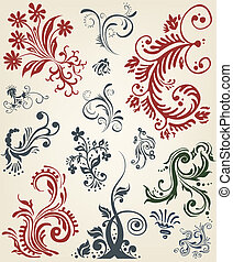 Ornament floral vector elements