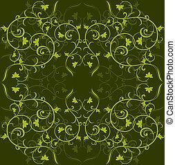 ornament., fond, floral, vecteur, vert, sombre