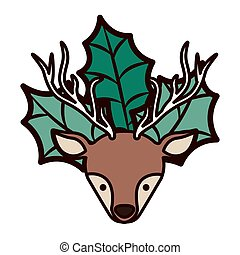 ornament front face christmas reindeer with leaves