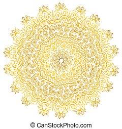 ornament., gradient, decoration., isolé, jaune, vecteur, ethnique, mandala
