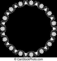 ornament., grec, palmetta, cadre, rond