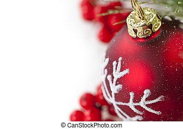 ornament, grens, kerstmis, rood