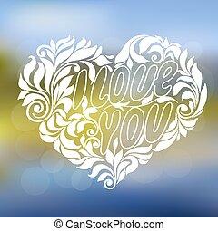 ornament, hart, met, de, lettering